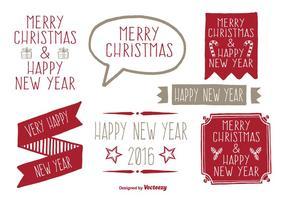 Insieme di etichette di Natale stile disegnato a mano vettore