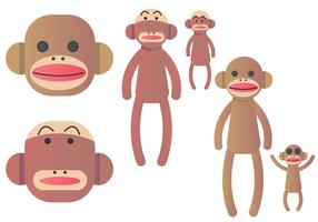 Insieme di vettore della scimmia di calzino