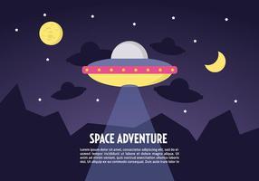 Fondo di vettore del paesaggio dello spazio piano