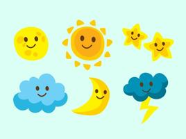 Icone del cielo di personaggi carini vettore