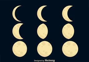 Icone di fasi lunari vettore