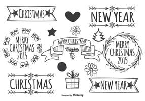 Elementi di Natale disegnati a mano carino