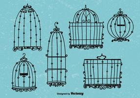 Doodle vettori di gabbia per uccelli in stile vintage