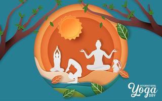 poster della giornata internazionale dello yoga vettore