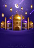 Ramadan Kareem bella cartolina d'auguri con moschea e stelle cadenti