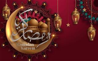 calligrafia di Ramadan Kareem con moschea nel design della luna vettore