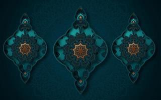 3d ornato turchese e oro tre forme di sfondo