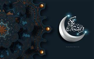 Ramadan Kareem ornato saluto con luna d'argento vettore