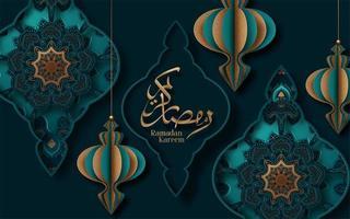 Ramadan Kareem calligrafia taglio carta design vettore