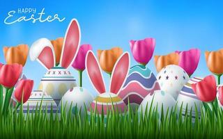 buona carta di pasqua con le uova dell'orecchio del coniglietto vettore