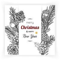 disegno della cartolina di Natale con flowerd vettore