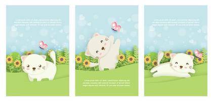 set di carte gatto vettore