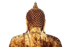 achterkant van grote Boeddha in oude tempel in thailand